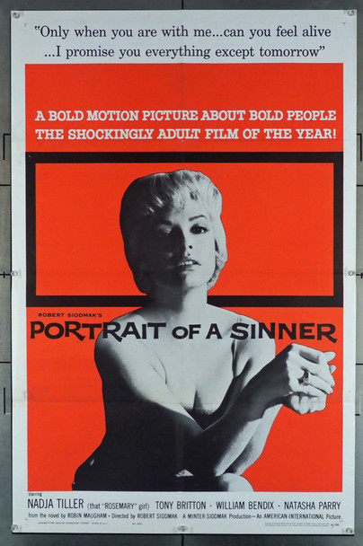 PORTRAIT OF A SINNER (1961) 2919 American International U.S. One Sheet Poster (27x41) Folded  Very Fine Condition