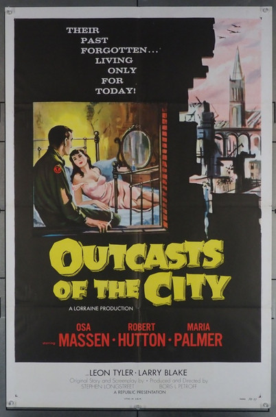 OUTCASTS OF THE CITY (1958) 2925 Republic Pictures Original U.S. One Sheet Poster (27x41) Folded  Very Fine Condition