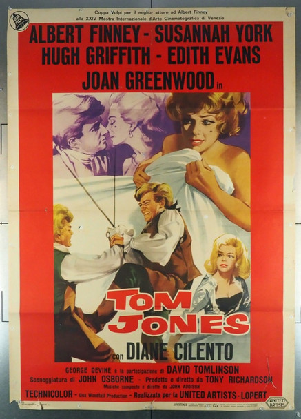 TOM JONES (1963) 28473 United Artists Original Italian 39x55 Poster  Folded  Good to Very Good Condition