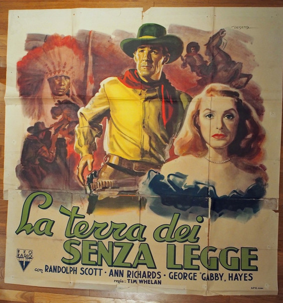 BADMAN'S TERRITORY (1946) 28474 RKO Pictures Original Italian Poster  Special Size 55x59  Condition Fair to Good  Art by Deseta