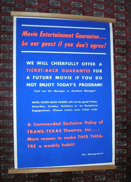 THEATER SERVICE POSTER (1960) 15688  SPECIAL 40X60 A Theater Service Poster for TRANS TEXAS Theaters Circa 1965  Theater Memorabilia