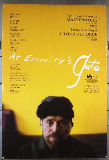 AT ETERNITY'S GATE (2018) 28536 Curzon Film Distributors Original U.S. Advance One-Sheet Poster (27x40) Double-sided  Rolled  Fine Plus Condition