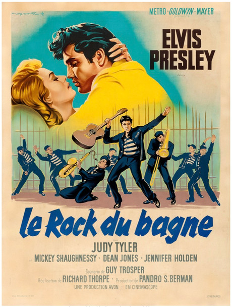 JAILHOUSE ROCK (1957) 28498 MGM Original French Grande Poster (47x63) Linen Backed Fine Plus Condition
