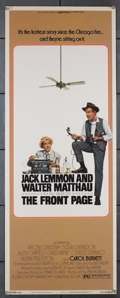 FRONT PAGE, THE (1974) 28256   BILLY WILDER REMAKE Universal Pictures Original U.S. Insert Poster (14x36)  Very Fine Condition