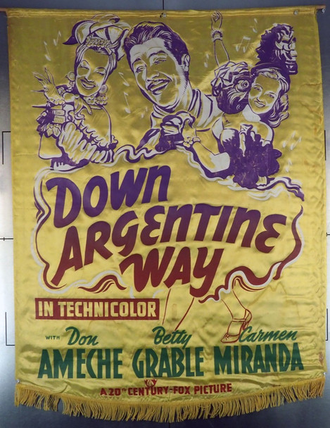 DOWN ARGENTINE WAY (1940) 765  RARE SATIN BANNER Original 20th Century Fox Satin Banner  (40x52)  Very Good Condition