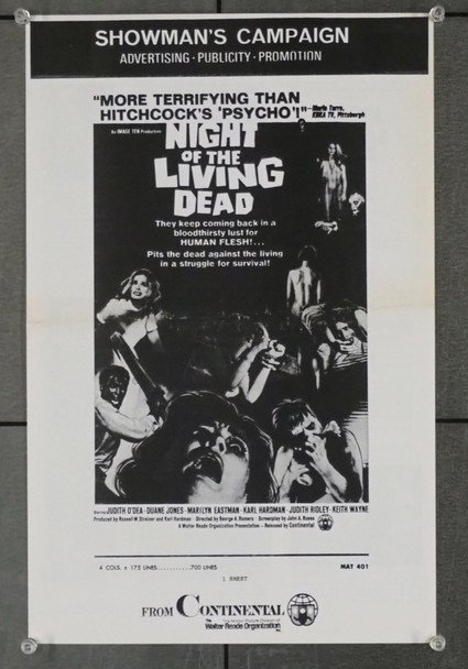 NIGHT OF THE LIVING DEAD (1968) 7146 Continental Releasing Original U.S. Pressbook  Four Pages  First Release  Fine Plus Condition