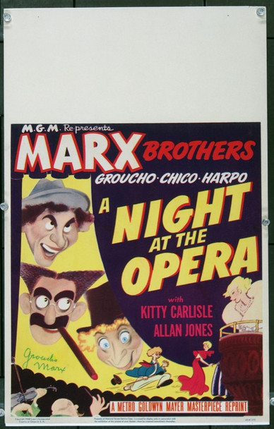NIGHT AT THE OPERA, A (1935) 22410 Original MGM 1948 Re-Release Window Card (14x22).  Signed Groucho Marx.  Art by Al Hirschfeld. Very Fine Condition.