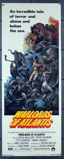 WARLORDS OF THE DEEP (1978) 28292   WARLORDS OF ATLANTIX Columbia Pictures Original U.S. Insert Poster (14x36)  Rolled  Very Fine Condition