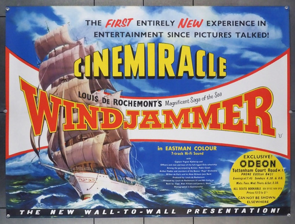 WINDJAMMER: THE VOYAGE OF CHRISTIAN RADICH (1958) 15553   CINEMIRACLE British Quad Original Release 30x40 Poster   Rolled  Near Mint   CINEMIRACLE