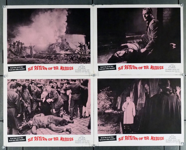 IM STAHINETZ DES DR. MABUSE (1961) 4359 Original U.S. Lobby Cards (4)  Re-release of 1967   Very Good To Very Fine Condition