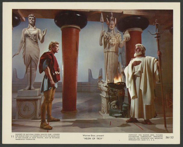 HELEN OF TROY (1956) 28599   JACQUES SERNAS   ESMOND KNIGHT Warner Brothers Original 8x10 Color Lithograph    Very Fine Condition