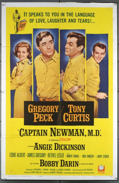 CAPTAIN NEWMAN, M.D. (1963) 11497 Universal PIctures Original U.S. One-Sheet Poster (27x41) Folded  Fine Plus Condition