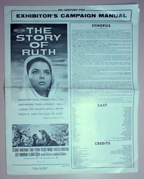 STORY OF RUTH, THE (1960) 22571 20th Century Fox Original U.S. Pressbook and a full set of U.S. Lobby Cards (8)