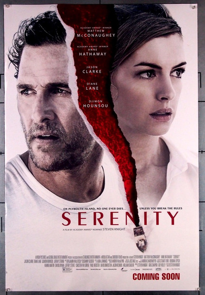 SERENITY (2019) 28586   MATTHEW MCCONAUGHEY   ANNE HATHAWAY Aviron Pictures Original U.S. ADVANCE One-Sheet Poster (27x40)  Rolled  Very Fine