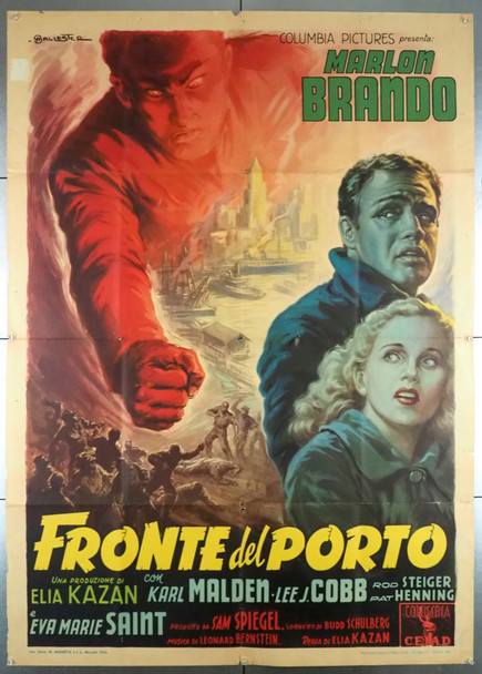 ON THE WATERFRONT (1954) 28614 Warner Brothers Original Italian 39x55 Poster  Folded  Fine Plus Condition  Art by Ballester