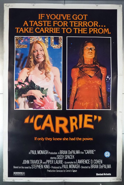 CARRIE (1976) 28634   40x60  SCARCE SIZE   SISSY SPACEK United Artists Original U.S. 40x60 Poster  Rolled  Very Good Plus Condition