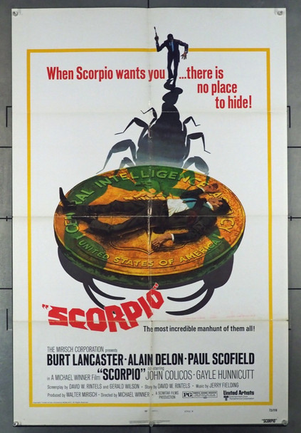 SCORPIO (1973) 10892 United Artists Original U.S. One-Sheet Poster (27x41) Folded  Fine Plus to Very Fine Condition