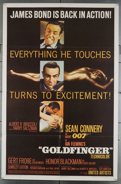 GOLDFINGER (1964) 27917    SEAN CONNERY as JAMES BOND MOVIE POSTER United Artists Original U.S. One-Sheet Poster  (27x41) Folded  Very Fine Glossy Finish Example