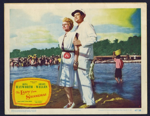 LADY FROM SHANGHAI, THE (1947) 19743   RITA HAYWORTH AND ORSON WELLES Columbia Pictures Original U.S. Scene Lobby Card  (11x14)  Fine Condition