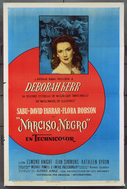 BLACK NARCISSUS (1946) 7855 Original Universal Spanish Language American One Sheet Poster (27x41). Folded. Fine Plus Condition.