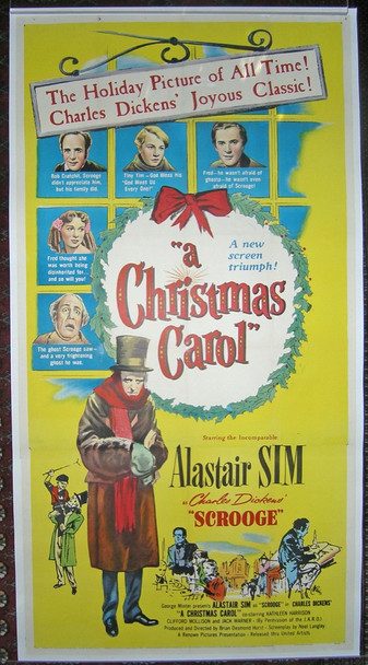 "SCROOGE (1951) 9742   RELEASED IN THE USA AS ""A CHRISTMAS CAROL"" Original United Artists Three Sheet Poster (41x81).  Linen-Backed.  Very Fine Condition."