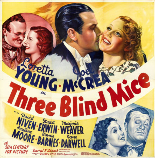 THREE BLIND MICE (1938) 9879    LORETTA YOUNG   JOEL MCCREA Original 20th Century-Fox Six Sheet Poster (81x81).  Folded.  Very Fine Condition.