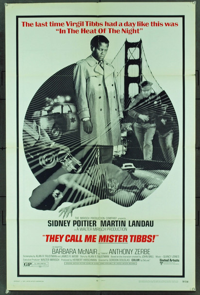 They Call Me MISTER Tibbs! (1970) 2020   SIDNEY POITIER Original United Artists One Sheet Poster (27x41).  Folded.  Fine plus condition.