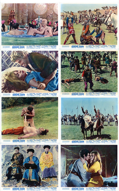 GENGHIS KHAN (1963) 4969  BRITISH FRONT OF HOUSE CARDS Original Set of 8 British Front of House Cards (8x10). Fine Plus.
