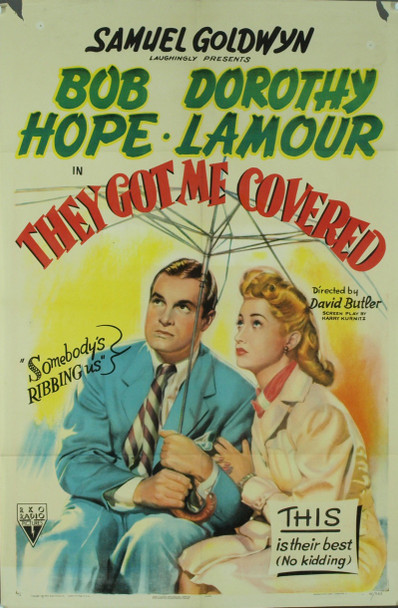 THEY GOT ME COVERED (1942) 6530   BOB HOPE   DOROTHY LAMOUR Original RKO Style A One Sheet Poster (27x41).  Folded.  Good Plus Condition.