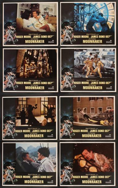 MOONRAKER (1979) 21191 Original United Artists Complete Set of 8 Lobby Cards (11x14). Very Fine Plus.