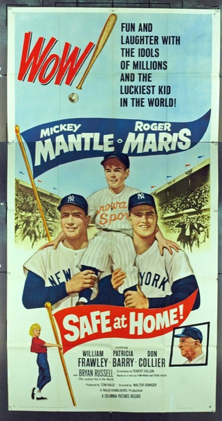 SAFE AT HOME (1962) 6052   BASEBALL HEROS MICKEY MANTLE and ROGER MARIS SAFE AT HOME Original Columbia Pictures Three Sheet Poster (41x81). Folded. Very Fine.