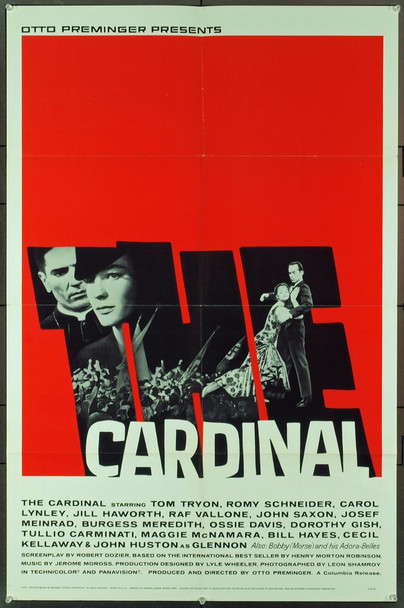 CARDINAL, THE (1963) 5527   TOM TRYON   OTTO PREMINGER   SAUL BASS Original Columbia Pictures One Sheet Poster (27x41).  Art by Saul Bass.  Folded.  Very Fine Condition.