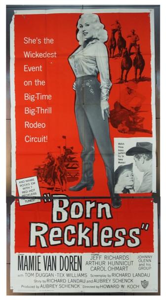 BORN RECKLESS (1959) 14531   MAMIE VAN DOREN Warner Brothers Original Three Sheet   41 x 81  Good Condition