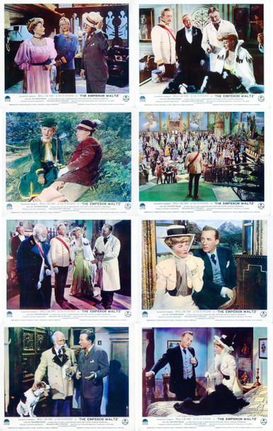 EMPEROR WALTZ, THE (1948) 4965    BING CROSBY   JOAN FONTAINE Original British Set of 8 Front of House Cards (8x10).  Fine Plus to Very Fine.
