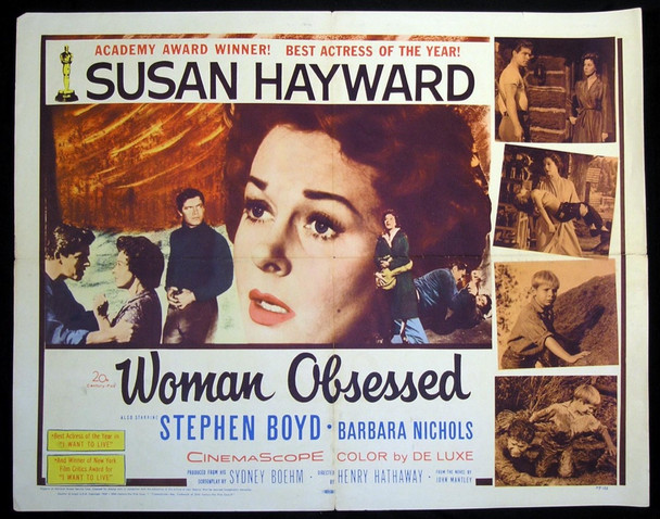 WOMAN OBSESSED (1959) 17790    SUSAN HAYWARD Original 20th Century-Fox Half Sheet Poster (22x28).  Folded.  Fine Condition.