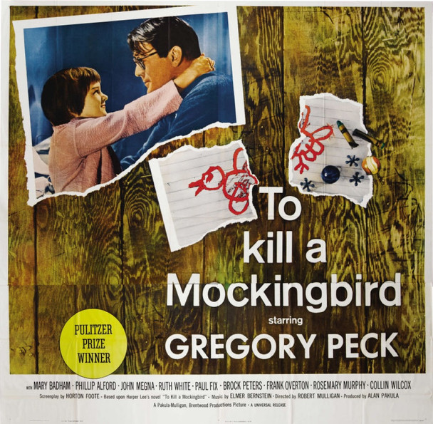 TO KILL A MOCKINGBIRD (1963) 9977    GREGORY PECK   MARY BADHAM   GIL PERKINS   ROBERT MULLIGAN Universal Original Six Sheet Poster   81 x 81  Folded.  Fine Plus