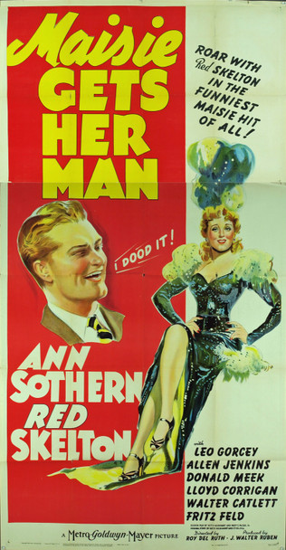 MAISIE GETS HER MAN (1942) 9906     ANN SOTHERN   RED SKELTON MGM Original U.S. Three Sheet Poster (41x81) Folded  Theater Used  Average Used Condition