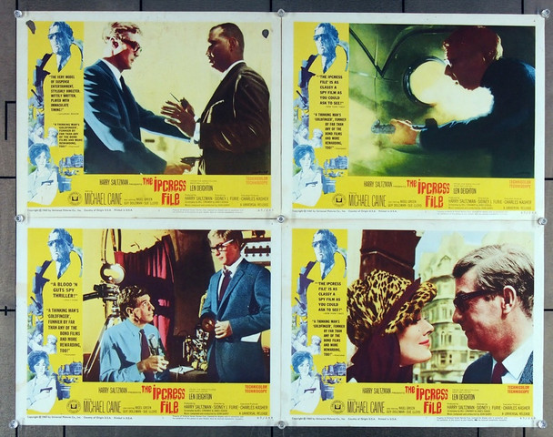 IPCRESS FILE, THE (1965) 16706 Universal PIctures Group of Four Scene Lobby Cards (11x14)  Average Used Condition to Fine Condition