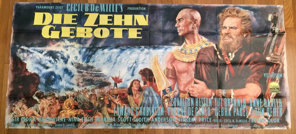 TEN COMMANDMENTS, THE (1956) 27474   UNIQUE ART OF HESTON AND BRYNNER Paramount PIctures Original German Re-release 33x72 poster from 1966  Folded  Fine Plus Condition