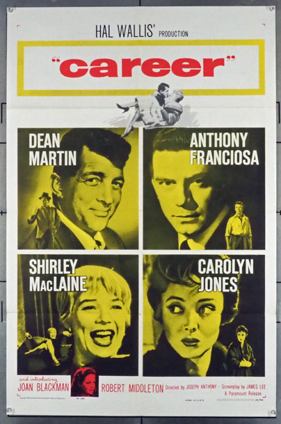 CAREER (1959) 8704   DEAR MARTIN  SHIRLEY MACLAINE  CAROLYN JONES  ANTHONY FRANCIOSA Paramount Pictures Original U.S. One-Sheet  (27x41) Folded  Very Fine