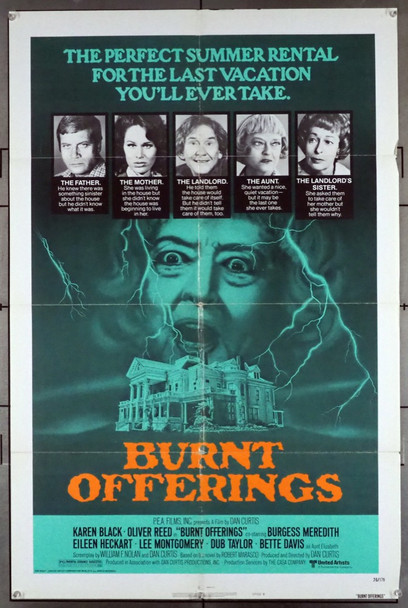 BURNT OFFERINGS (1976) 8709 United Artists Original U.S. One-Sheet Poster (27x41)  Folded  Average Used Condition