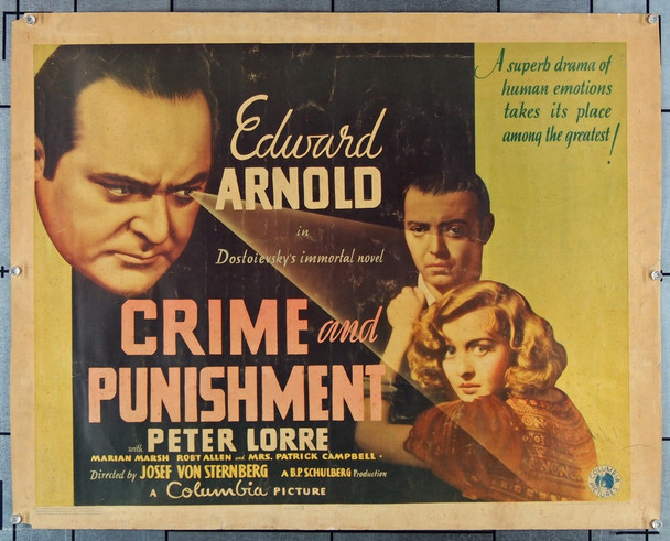 CRIME AND PUNISHMENT (1935) 27846 Columbia Pictures Original U.S. Half-Sheet Poster (22x28)  Average Used Condition  Good