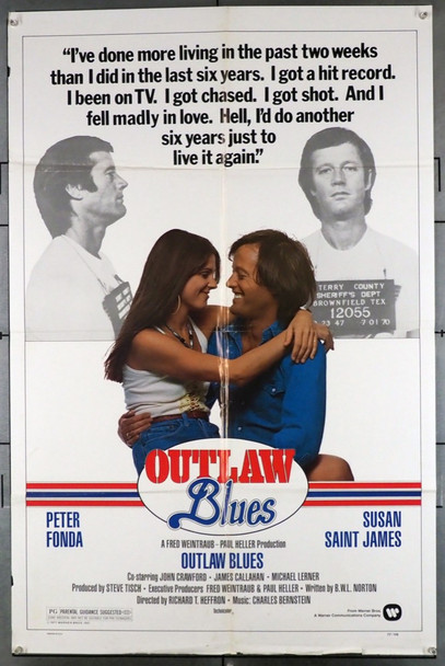 OUTLAW BLUES (1977) 4029 Warner Brothers Original U.S. One-Sheet Poster (27x41) Folded  Average Used Condition