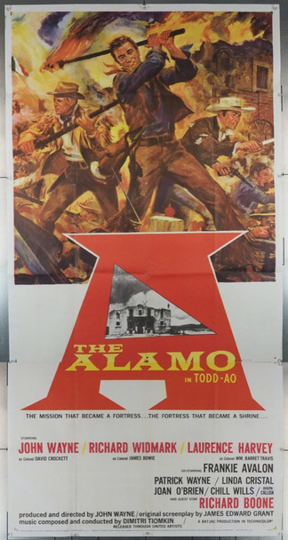 ALAMO, THE (1960) 22276 THE ALAMO Original United Artists Roadshow Todd-AO Marked Three Sheet Poster (41x81).Rare. Unmounted. Fine plus.