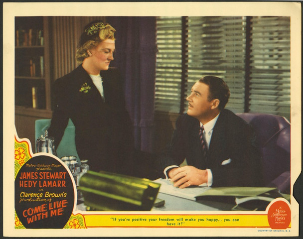 COME LIVE WITH ME (1941) 28727    VERREE TEASDALE and IAN HUNTER MGM Original U.S. Scene Lobby Card (11x14)   Average Used Condition Rated Good