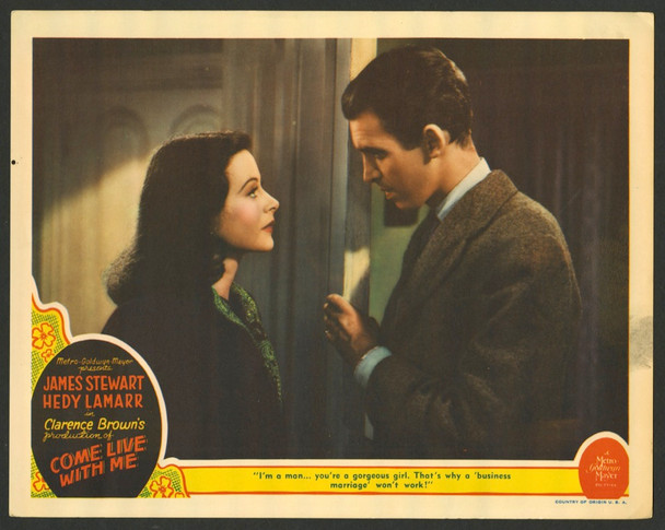 COME LIVE WITH ME (1941) 28730    HEDY LAMARR  and  JAMES STEWART MGM Original U.S. Scene Lobby Card (11x14)  Fine Plus Condition