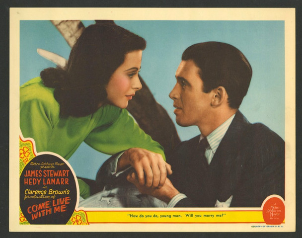 COME LIVE WITH ME (1941) 28729   HEDY LAMARR  and  JAMES STEWART MGM Original U.S. Scene Lobby Card (11x14)  Very Fine Condition