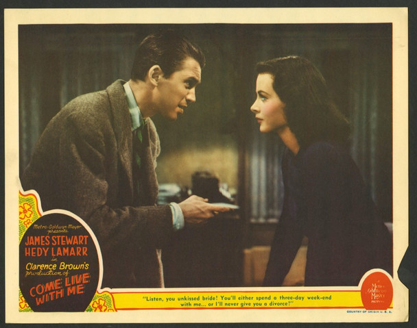COME LIVE WITH ME (1941) 28731    JAMES STEWART and HEDY LAMARR MGM Original U.S. Scene Lobby Card (11x14)  Good Condition