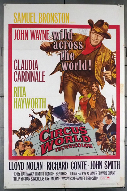 CIRCUS WORLD (1964) 28739   JOHN WAYNE   Paramount PIctures Original U.S. One-Sheet Poster (27x41) Folded  Theater Used  Very Good Plus Condition
