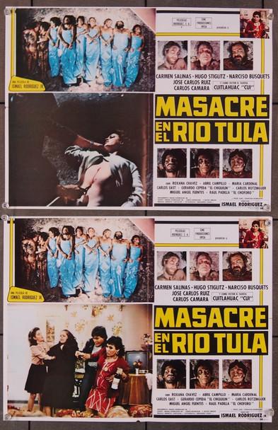 MASACRE EN EL RIO TULA (1985) 27530 Original Mexican Lobby Cards  Set of Eight Cards  Folded  Very Good Plus Condition